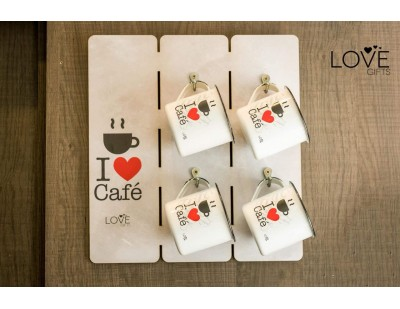 LG1123 - PLACA PORTA CANECA I LOVE COFFEE
